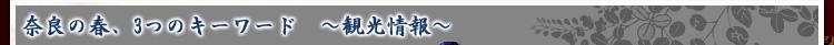 奈良の春、3つのキーワード 〜観光情報〜